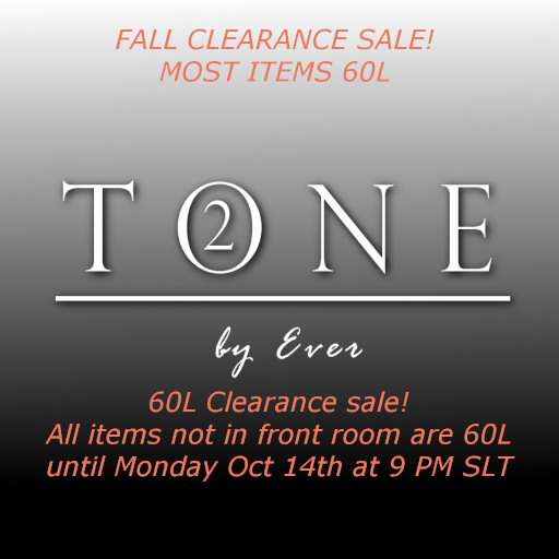 TONE 2 Sale sign for Fall