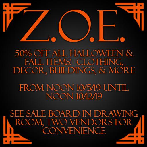 Z.O.E. Halloween Half Off Sale 2019