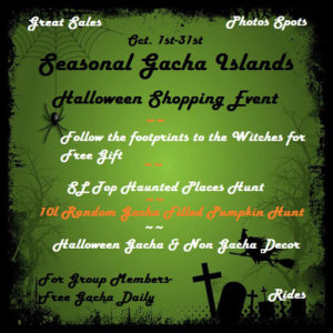The Halloween Town Seasonal Gacha Resell Islands October 2020 Sign