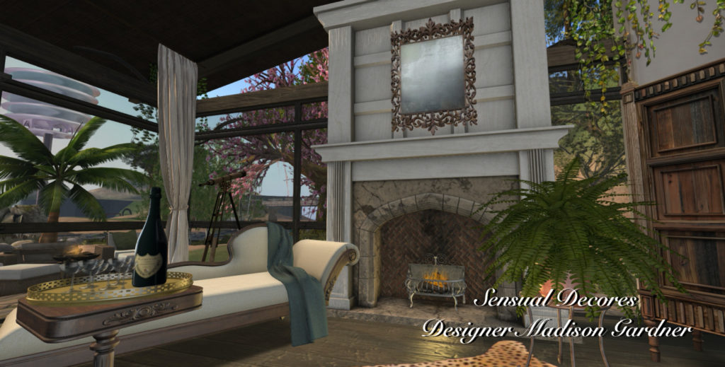 Fireplace chaise lounge and table by Casey Tripsa of Laminak at Madison Gardner of Sensual Decores
