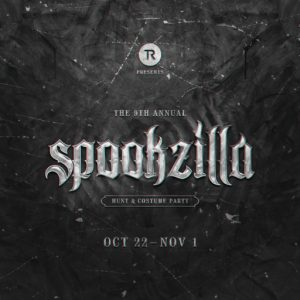 The Spookzilla Hunt and Costume Party October 2021 Sign