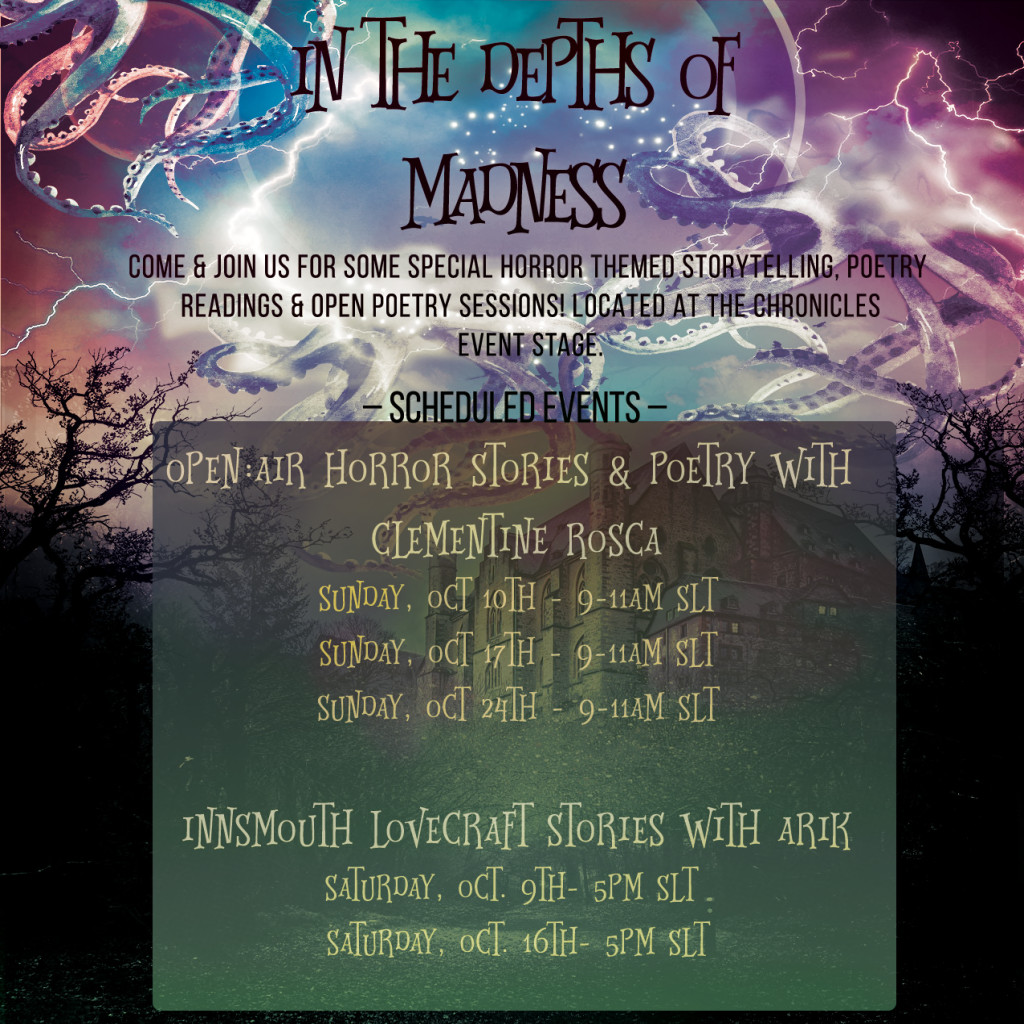 The Chronicals and Legeds In dEPTHS of mADNESS Story Events Flyer